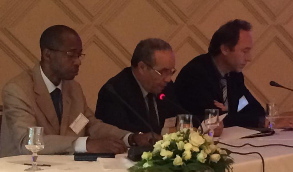 Le président du RAIFFET Jean Sylvain Bekale Nze, Abdellah EL GHARAD Directeur de l'ENSET de Rabat au Maroc, Hervé Huot-Marchand représentant de l'UNESCO.