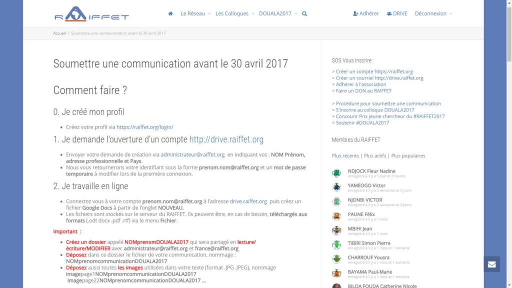 5ème colloque International du RAIFFET APPEL à communication avant 30 avril 2017