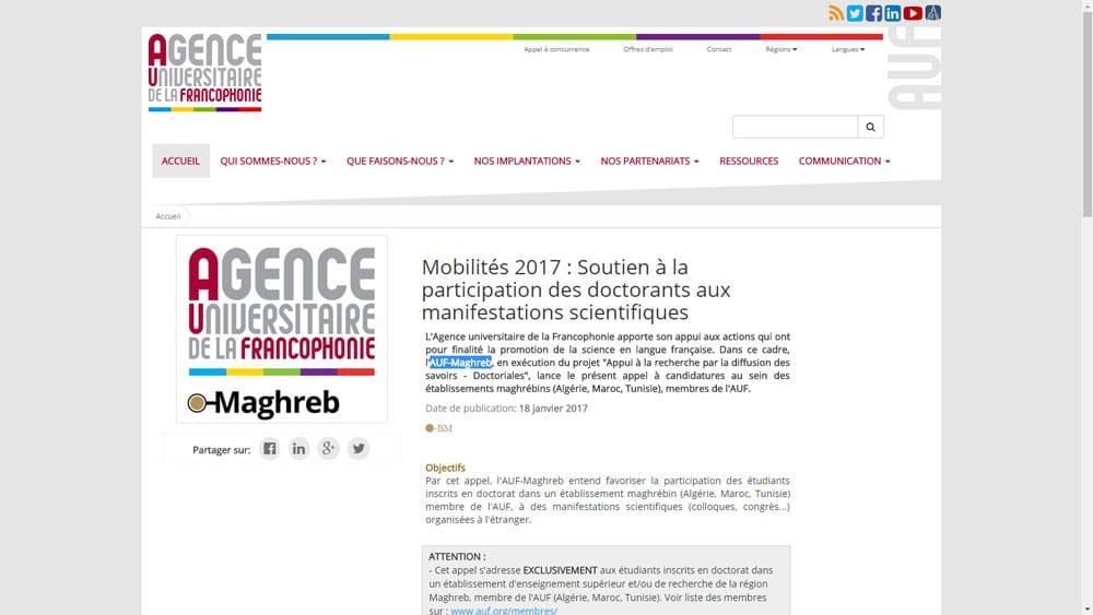 Mobilités 2017, AUF-Maghreb : Soutien à la participation des doctorants aux manifestations scientifiques