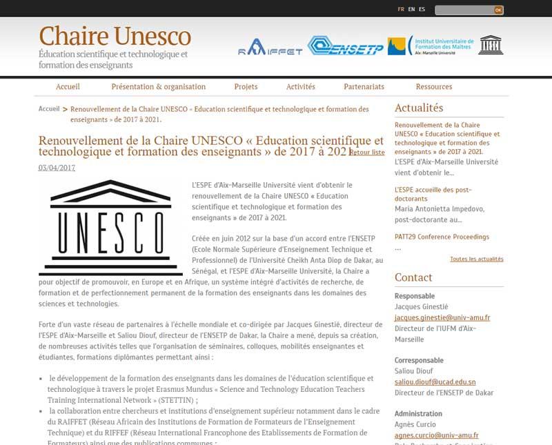 Renouvellement de la Chaire UNESCO « Education scientifique et technologique et formation des enseignants » de 2017 à 2021