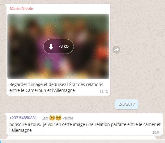 Exemple d'interaction sur WhatsApp