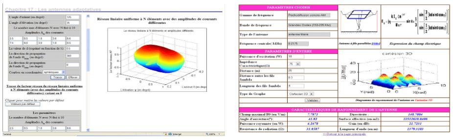 Figure 4 : Exemple de simulations avec la Didactique de Radiocommunications
